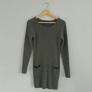 AGB Long Sleeve Sweater Dress Gray Size L